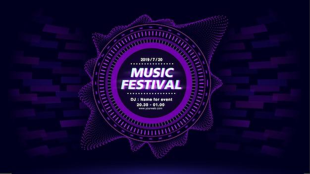 Festiwal muzyki w tle ekranu purpurowego tematu. Premium Wektorów