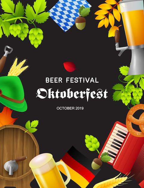 Festiwal piwa oktoberfest plakat z symbolami fest Darmowych Wektorów