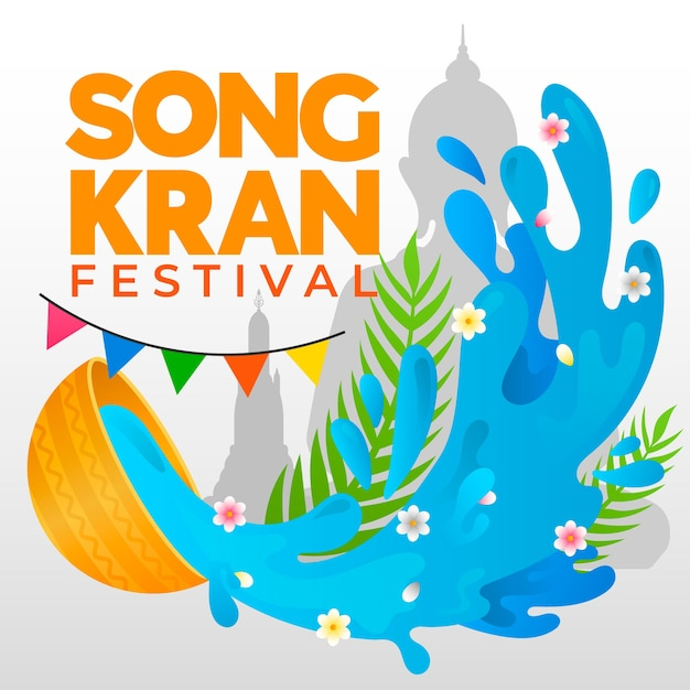 Festiwal Songkran Płaska Konstrukcja Darmowych Wektorów