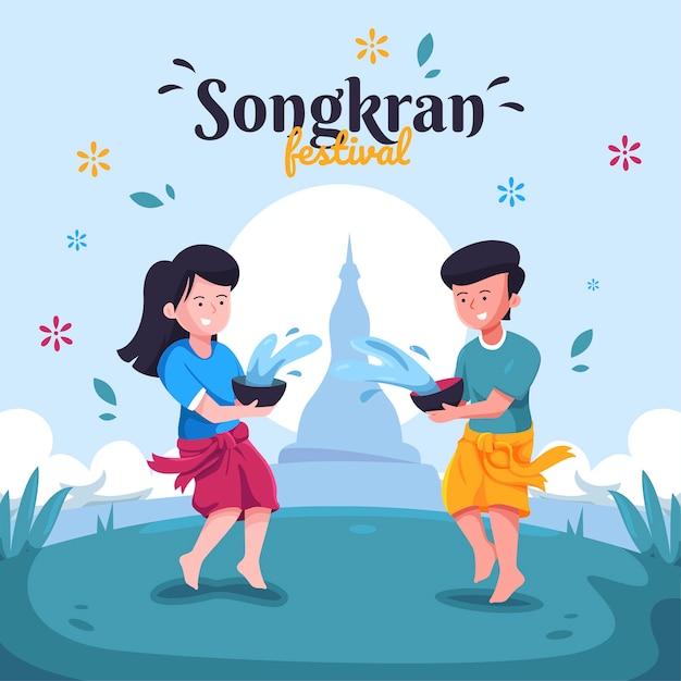Festiwal Songkran W Płaskiej Konstrukcji Darmowych Wektorów