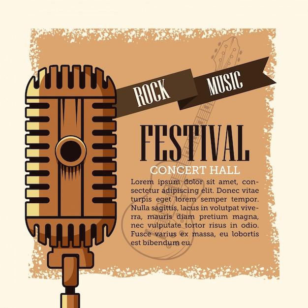Festiwal Ulotki Rock Musica Premium Wektorów