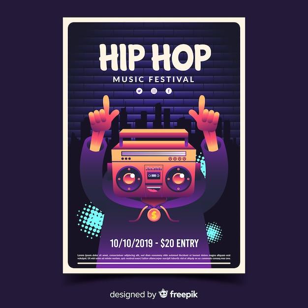Festiwalu hip hop plakat z gradientową ilustracją Darmowych Wektorów
