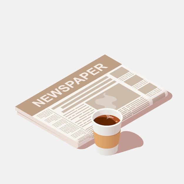 Filiżanka Czarnej Kawy I Codzienna Gazeta Premium Wektorów