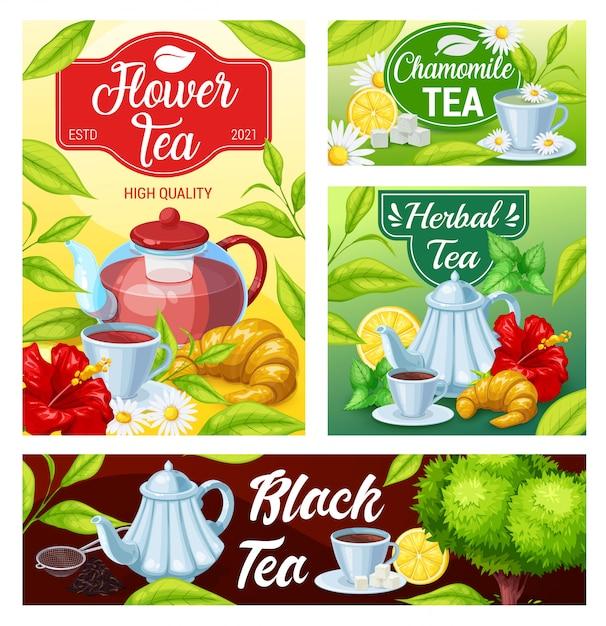 Filiżanka Herbaty Czarny, Zielony, Banery Ziołowe Napoje Premium Wektorów