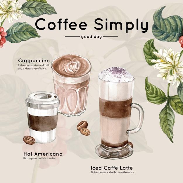 Filiżanka kawy, americano, cappuccino, zabierz się za liście kawy z gałęzi, ilustracja akwarela Darmowych Wektorów