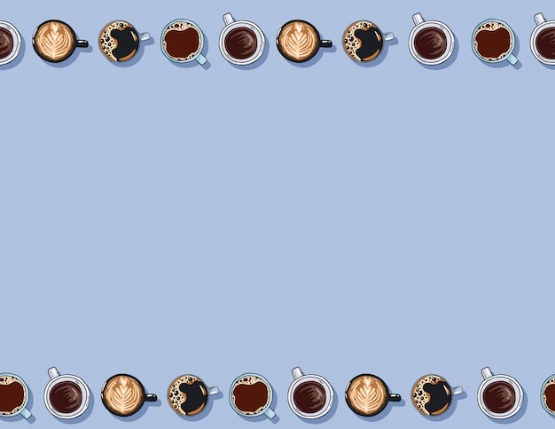 Filiżanki Kawy Ręcznie Rysowane Kreskówka Napoje Wzór Premium Wektorów