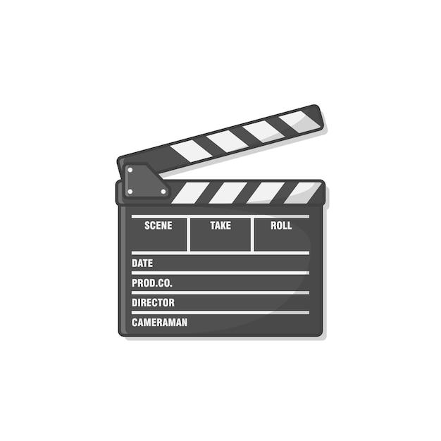 Film Clapper Board Ikona Ilustracja. Ikona Clapperboard Kina. Produkcja Filmowa Premium Wektorów