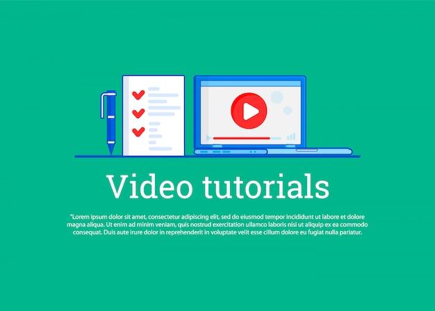 Film instruktażowy. koncepcja edukacja, szkolenie online, studiowanie w internecie Premium Wektorów
