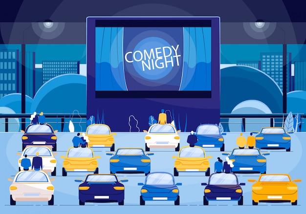 Filmowa Noc Komediowa, Pary Na Romantyczne Wydarzenie Premium Wektorów