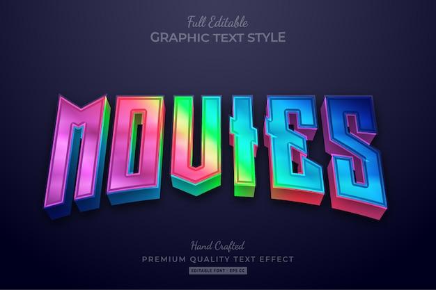 Filmy Gradient Neon Edytowalny Styl Czcionki Efektu Tekstowego Premium Wektorów
