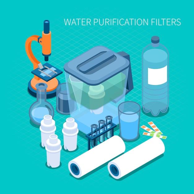 Filtry Do Domowego Oczyszczania Wody I Testowania Składu Izometrycznego Sprzętu Laboratoryjnego Darmowych Wektorów