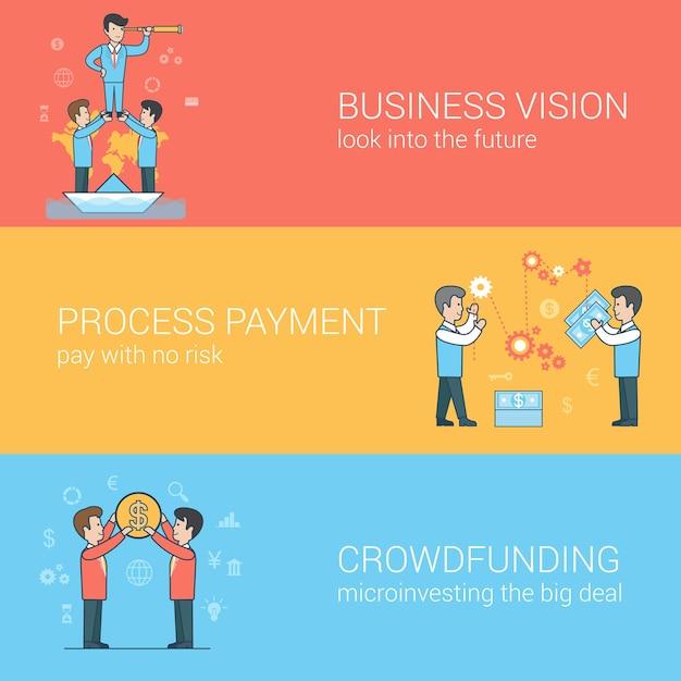 Finansowanie Społecznościowe Linear Flat, Wizja Biznesowa, Zestaw Do Przetwarzania Płatności. Piramida Przywództwa Biznesmenów. Proces Płatności. Para Trzymając Monetę. Darmowych Wektorów