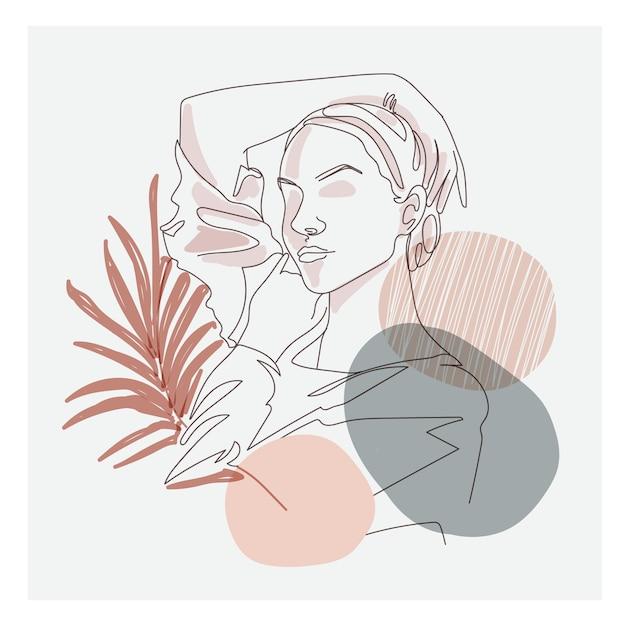 Fine Line Art Rysunek Postaci Pięknej Kobiety Premium Wektorów