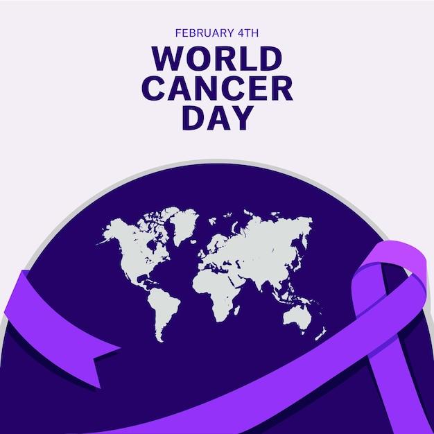 Fioletowa Wstążka światowego Dnia Raka I Ziemia Premium Wektorów