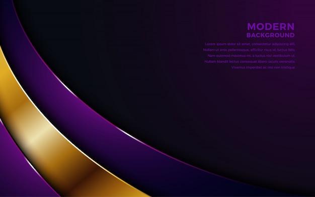 Fioletowe nakładają się warstwy tła ze złotą kombinacją. Premium Wektorów