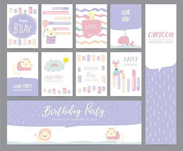 Fioletowe pastelowe karty z pozdrowieniami z kota, królika, kaczki, wieloryba, lisa, kota i chmury Premium Wektorów