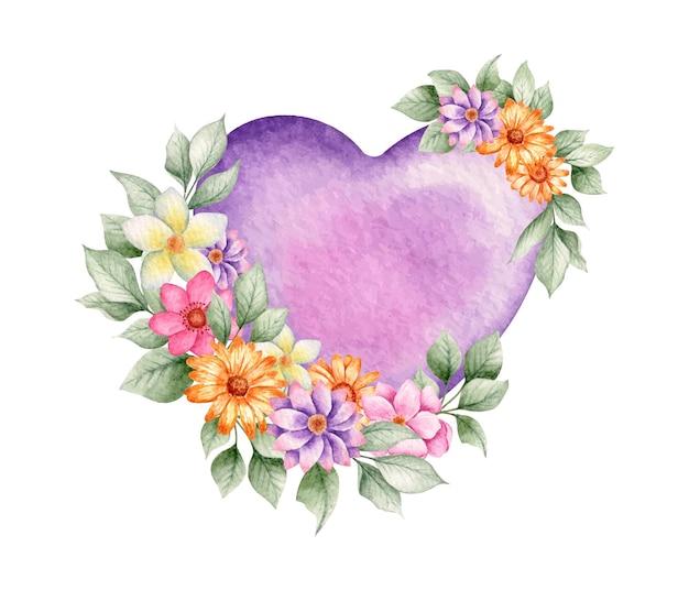 Fioletowe Serce Walentynki Akwarela Z Kolorowych Kwiatów Premium Wektorów