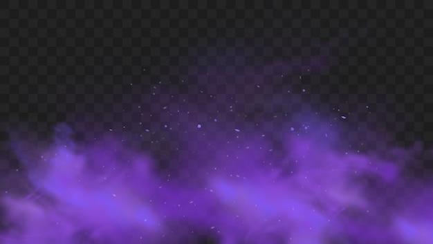 Fioletowy Dym Na Przezroczystym Ciemnym Tle. Streszczenie Fioletowy Wybuch Proszku Z Drobinami I Brokatem. Dym Fajki Wodnej, Trujący Gaz, Fioletowy Pył, Efekt Mgły. Realistyczna Ilustracja Premium Wektorów