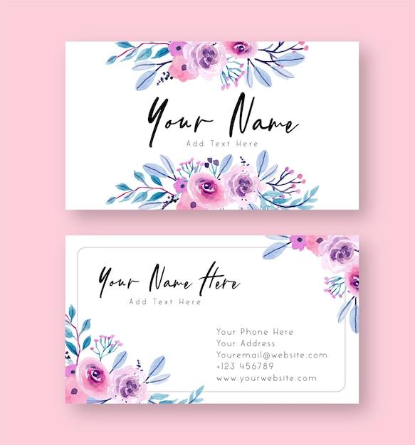 Fioletowy I Różowy Akwarela Kwiatowy Wizytówka Premium Wektorów