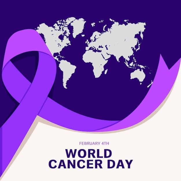 Fioletowy światowy Dzień Raka Ziemi I Wstążki Premium Wektorów