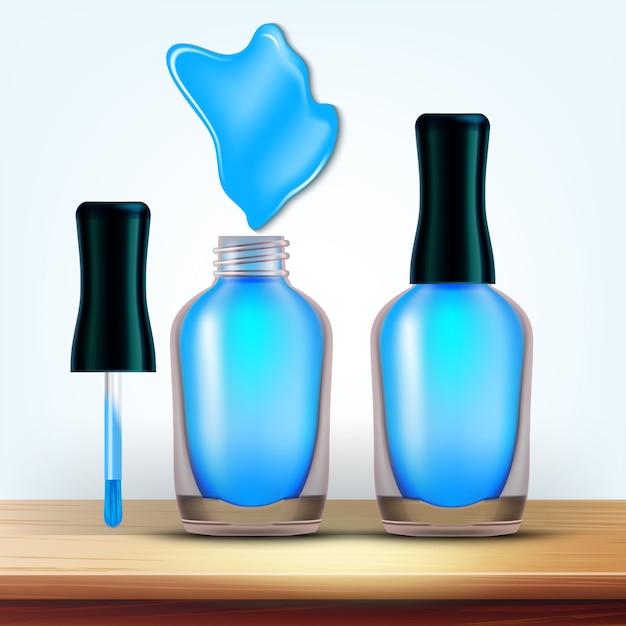 Fiolka z jasnoniebieskim kosmetykiem do paznokci Premium Wektorów