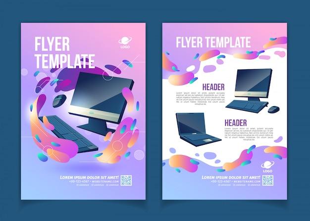 Firma handlowa komputerów, innowacyjna ulotka reklamowa informacyjna lub technologiczna lub kreskówka banerowa Darmowych Wektorów