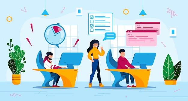Firma Informatyczna Zarządzanie Czasem Płaski Koncepcja Premium Wektorów
