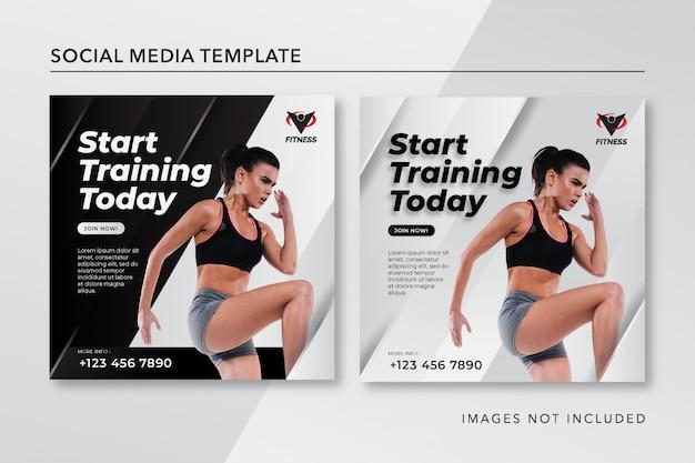 Fitness Instagram Post Szablon Czarno-biały Premium Wektorów