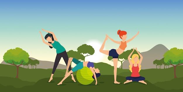 Fitness kobiety ćwiczą jogę z górami i drzewami Darmowych Wektorów