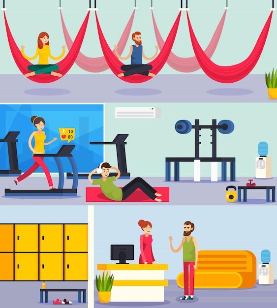 Fitness trening ludzie skład ortogonalny Darmowych Wektorów