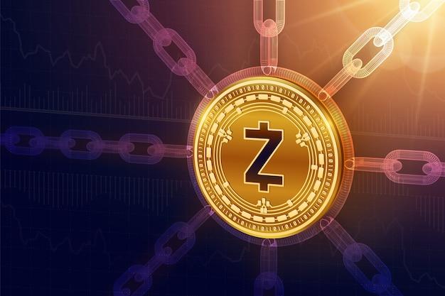 Fizyczna Moneta Zcash Z łańcuchem Drucianym. Koncepcja Blockchain. Premium Wektorów