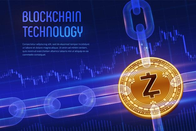 Fizyczna Złota Moneta Zcash Z łańcuchem Model Szkieletowy Na Niebieskim Tle Finansowym. Koncepcja Blockchain. Premium Wektorów