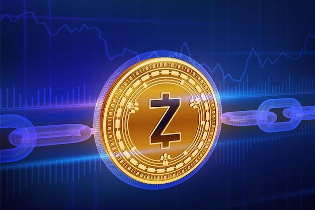 Fizyczna Złota Moneta Zcash Z łańcuszkiem. Koncepcja Blockchain. Premium Wektorów