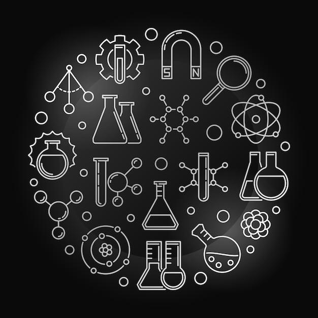 Fizyka Chemiczna Srebrny Okrągły Ilustracja W Stylu Konspektu Premium Wektorów