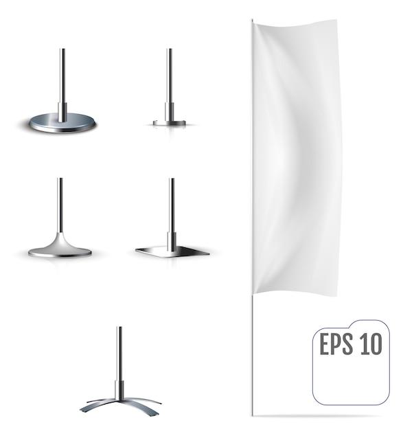 Flaga Biały Sztandar. Realistyczna Makieta Premium Wektorów