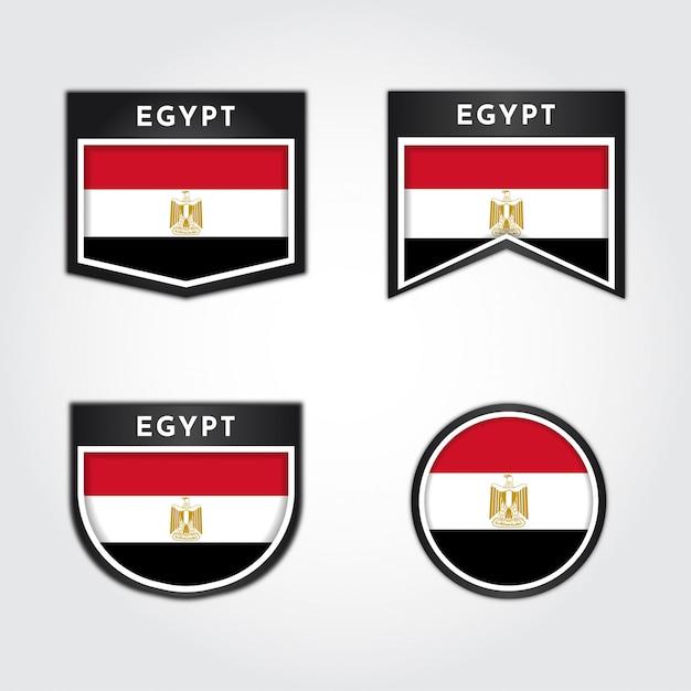 Flaga Egiptu Z Etykietami Premium Wektorów