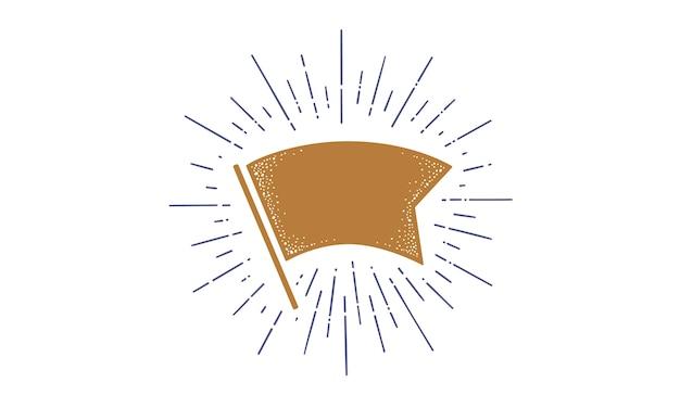 Flaga. Flaga Wstążki Starej Szkoły, Szablon Transparent Dla Tekstu. Premium Wektorów