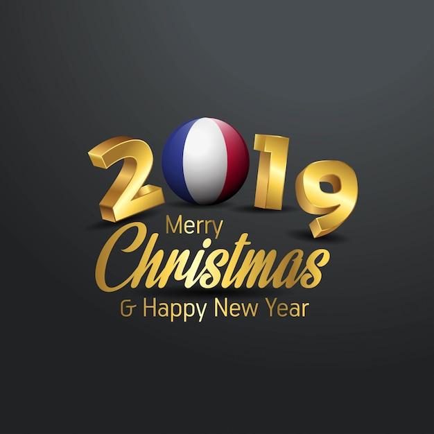 Flaga Francji 2019 Wesołych świąt Typografia Premium Wektorów