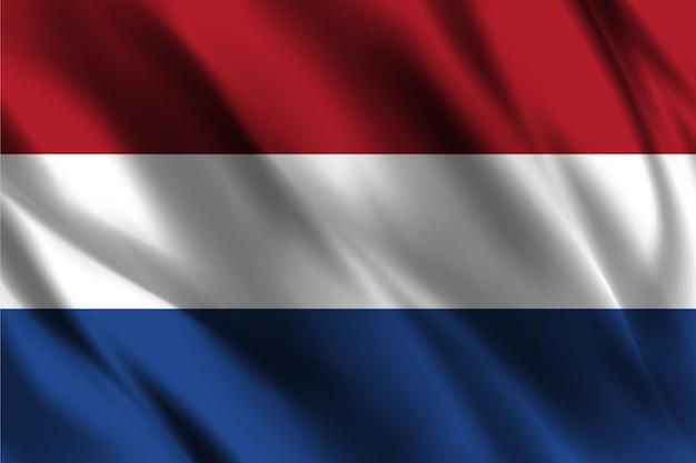 Flaga Holandii Pływających Jedwabiu Tła Premium Wektorów