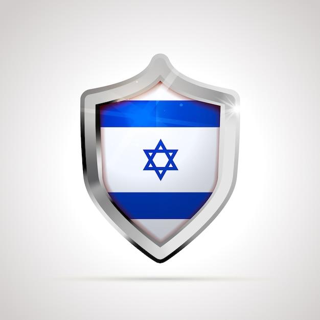 Flaga Izraela Wyświetlana Jako Błyszcząca Tarcza Premium Wektorów