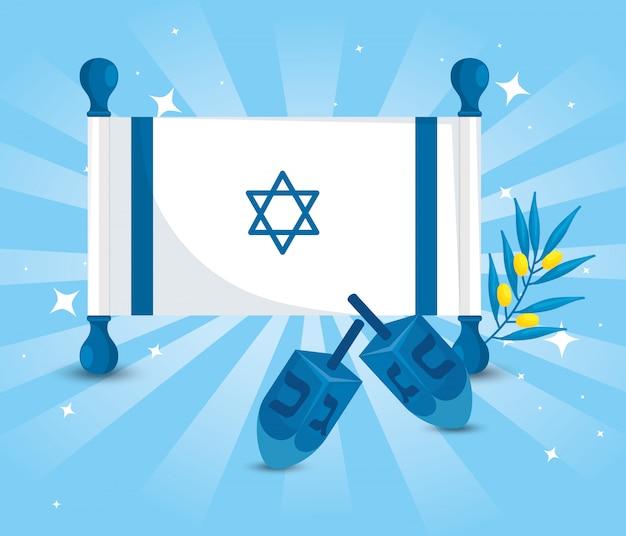 Flaga Izraela Z Grami Dreidel I Gałązką Oliwną Premium Wektorów