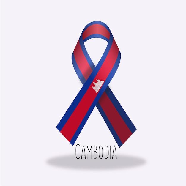 Flaga Kambodży Projekt Wstążki Darmowych Wektorów