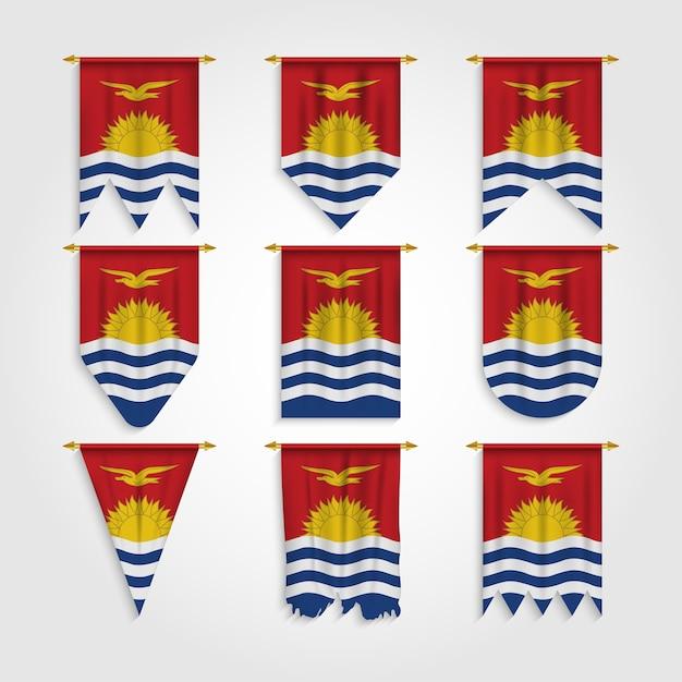 Flaga Kiribati W Różnych Kształtach, Flaga Kiribati W Różnych Kształtach Premium Wektorów