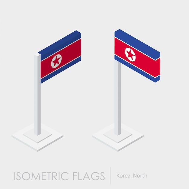 Flaga Korei Północnej Izometryczny Styl, Styl 3d Premium Wektorów