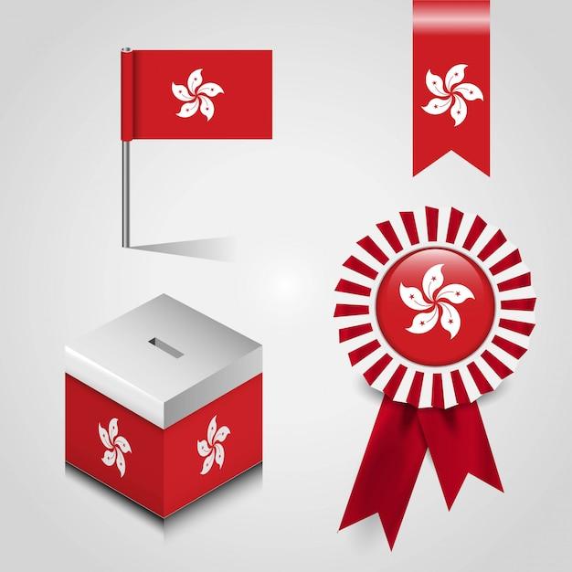 Flaga Kraju Hongkong Miejsce Na Głosowanie Pole, Wstążka Banner Odznaka I Pin Mapę Premium Wektorów