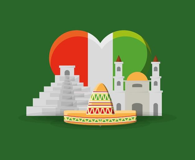 Flaga Na Meksyku W Kształcie Serca I Meksykański Budynków I Kapelusz Na Zielonym Tle Premium Wektorów