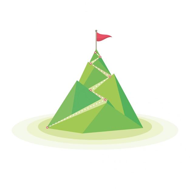 Flaga Na Szczycie Góry Premium Wektorów