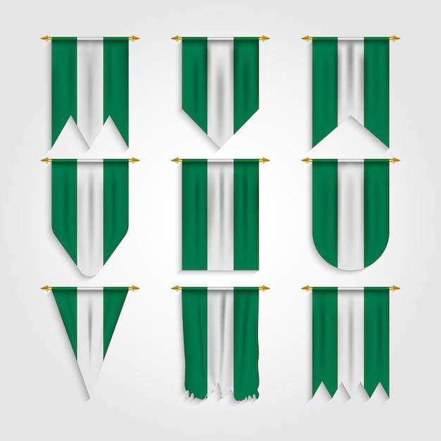 Flaga Nigerii W Różnych Kształtach, Flaga Nigerii W Różnych Kształtach Premium Wektorów