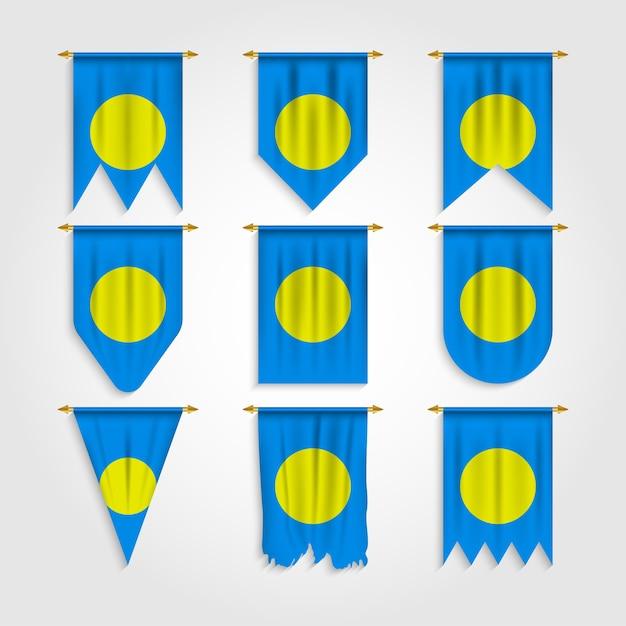 Flaga Palau W Różnych Kształtach, Flaga Palau W Różnych Kształtach Premium Wektorów