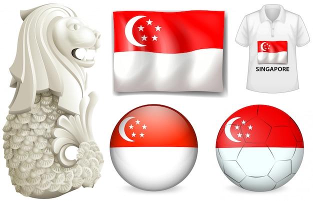 Flaga Singapuru I Symbol Darmowych Wektorów